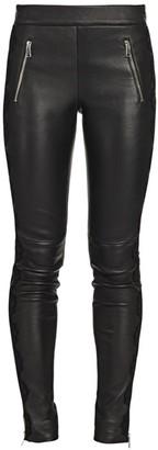 Alexander McQueen Lace Trim Leather Leggings