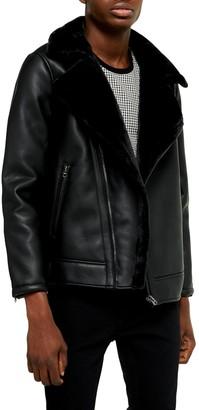 Topman Faux Shearling Trim Faux Leather Biker Jacket
