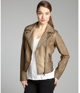 Sam Edelman milk chocolate studded faux leather motorcycle jacket