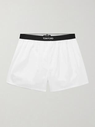Tom Ford Grosgrain-Trimmed Cotton Boxer Shorts - Men - White