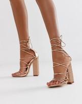 Public Desire Sparkle rose gold rhinestone clear detail tie up heeled sandals