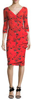 La Petite Robe di Chiara Boni 3/4-Sleeve Floral Tie-Dye Cocktail Dress, Winter Blossom Red