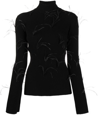 Marques Almeida Feather Trim Turtleneck Jumper