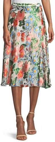 Alice + Olivia Nanette Mock-Wrap Floral-Print Midi Skirt