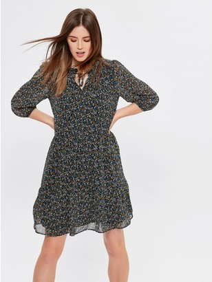 M&Co Floral print tie neck dress