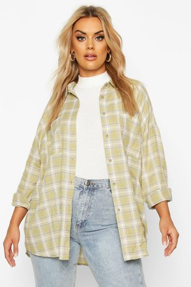 boohoo Plus Check Oversized Boyfriend Shirt