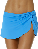 Anne Cole Sky Blue Knot-Front Sarong Skirted Bikini Bottoms