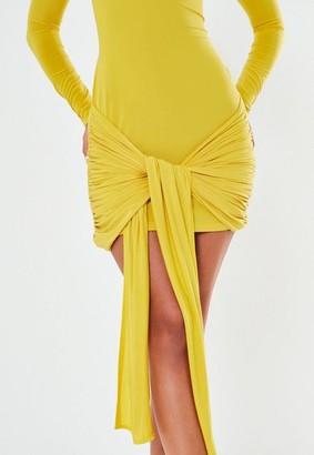 Missguided Lime Slinky Drape Tie Front Mini Dress