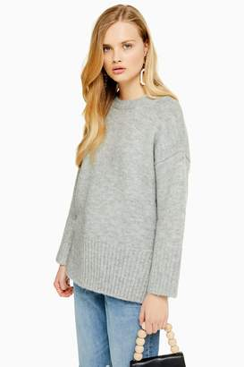 Topshop Womens Knitted Oversized Longline Jumper - Grey Marl