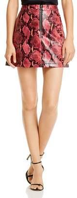 GUESS Yolanda Snake Print Faux Leather Skirt