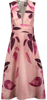 Lela Rose Printed Silk-Crepe Midi Dress