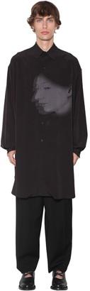 Yohji Yamamoto Sayonara Print Acetate Mix Long Shirt