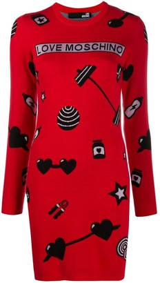 Love Moschino Love motif-jacquard knitted dress