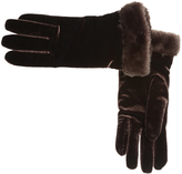 Cejon Brown Velvet Faux Fur-Cuff Glove