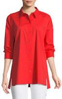 Eileen Fisher Organic Cotton Poplin Long-Sleeve Swing Top