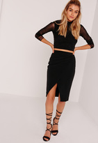 Missguided Asymmetric Ruched Side Midi Skirt Black