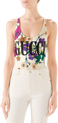 Gucci Sparkling Swimsuit with Flora Gothic and Logo Print