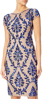 Adrianna Papell Cap Sleeve Beaded Sheath Dress, Champagne/Royal