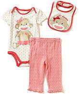 Baby Starters Baby Girls 3-12 Months Heart-Printed Bodysuit, Printed Pants and Sock Monkey Bib Set
