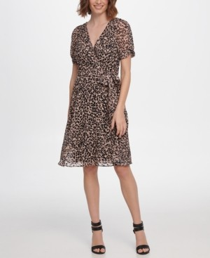 DKNY Knot Puff Sleeve V-Neck Dress