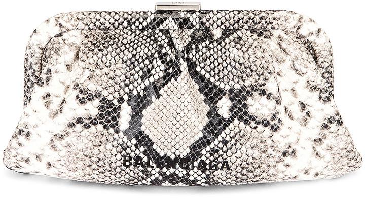 Balenciaga XS Cloud Clutch in Black & White | FWRD