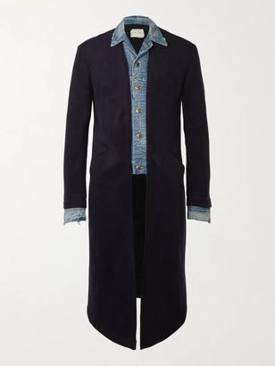 Greg Lauren Layered Denim-Panelled Cashmere-Blend Coat - Men - Blue