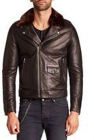 The Kooples Faux Fur Collar Leather Moto Jacket