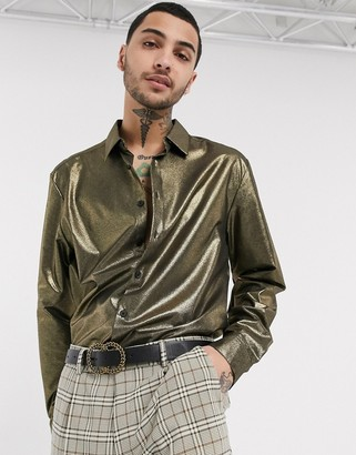 ASOS DESIGN regular fit gold metallic shirt