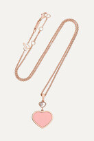 Thumbnail for your product : Chopard Happy Hearts 18-karat Rose Gold, Onyx And Diamond Necklace