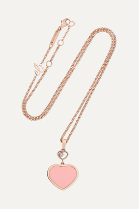Chopard Happy Hearts 18-karat Rose Gold, Onyx And Diamond Necklace