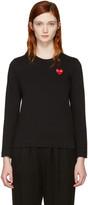 Comme des Garcons Black Long Sleeve Heart Patch T-Shirt
