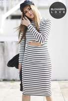Girls On Film Monochrome Stripe Cut Out Body-Con Dress