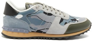 Valentino Rockrunner Camouflage Suede And Leather Trainers - Grey