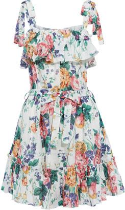 Zimmermann Allia Tie Cold-shoulder Ruffled Floral-print Linen Mini Dress