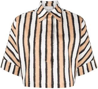 Alysi Cropped Striped Print Shirt