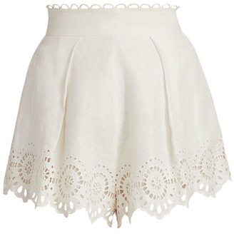 Zimmermann Bellitude Scalloped Lace Shorts