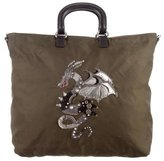 Prada Saffiano Leather-Trimmed Dragon Tote