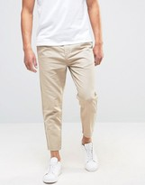 Selected Pleated Cropped Chinos In Linen