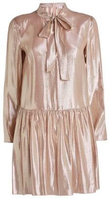 RED Valentino Lame Flounce Skirt Dress