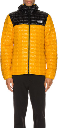 The North Face Thermoball Eco Hoodie in Summit Gold & TNF Black | FWRD