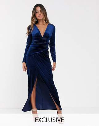 TFNC velvet maxi wrap dress in midnight-Navy