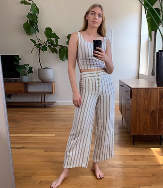 LOFT Lou & Grey Striped High Rise Button Front Wide Leg Linen Pants