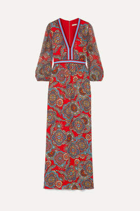 Alice + Olivia Jaida Printed Crepe And Plisse-chiffon Maxi Dress - Red
