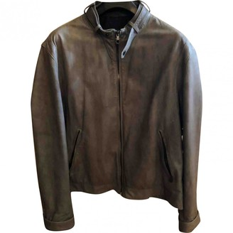 Salvatore Ferragamo Grey Leather Jackets