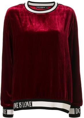 Dolce & Gabbana Velvet Logo Panel Sweater