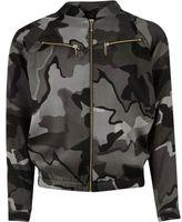 River Island Girls khaki camo zip bomber jacket