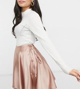 ASOS DESIGN Petite satin wrap mini skirt in blush