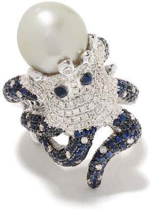Monan 18kt White Gold Octopus Diamond, Sapphire And Pearl Ring
