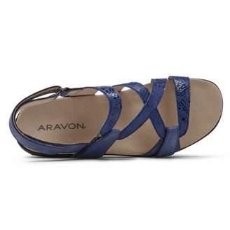 Aravon womens Power Comfort S Strap Sandal Blue Multi 9 Narrow