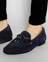Asos Loafers in Navy Suede With Tie Front Tassel